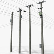 Linha de transmissão de energia - conjunto completo 3d model