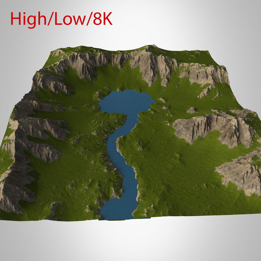 Berglandskap royalty-free 3d model - Preview no. 35