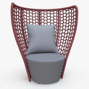 Faye Bay Beach Chair Cranberry & Gray 3d model