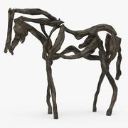 Sculpture De Cheval En Bois 3d model