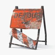 Destroyed Detour Sign 3d model