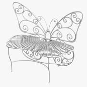 Banco de jardín de mariposas modelo 3d