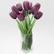 realictic dark tulips 3d model