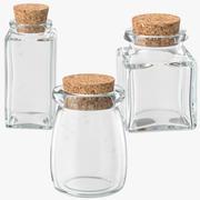 コルクストッパー付きガラス瓶 3d model