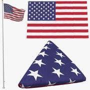 Bandiera degli Stati Uniti 3 pose 3d model