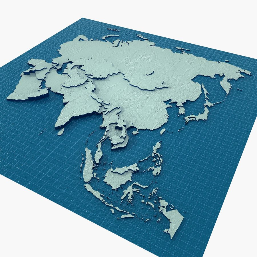 3D Asia Map royalty-free 3d model - Preview no. 2