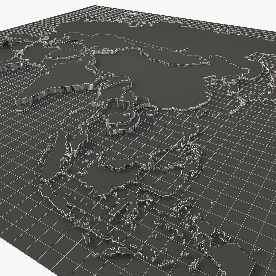 3D Asia Map royalty-free 3d model - Preview no. 8