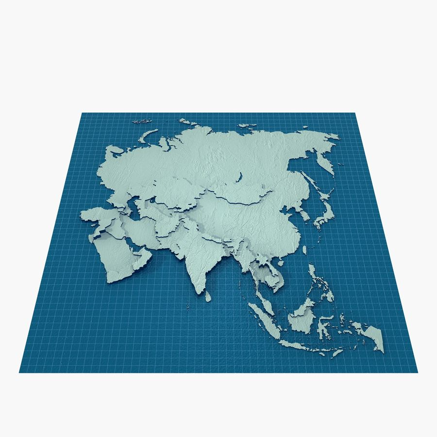 3D Asia Map royalty-free 3d model - Preview no. 1