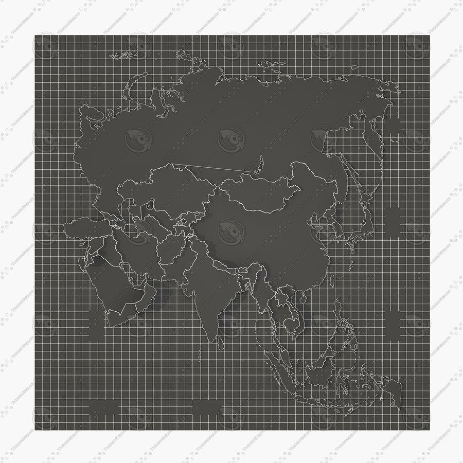 3D Asia Map royalty-free 3d model - Preview no. 10