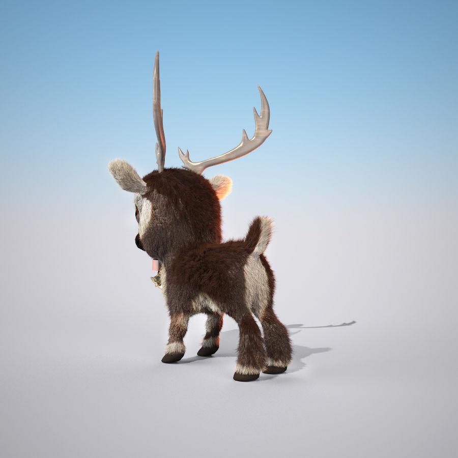 Christmas Deer (fur) royalty-free 3d model - Preview no. 3