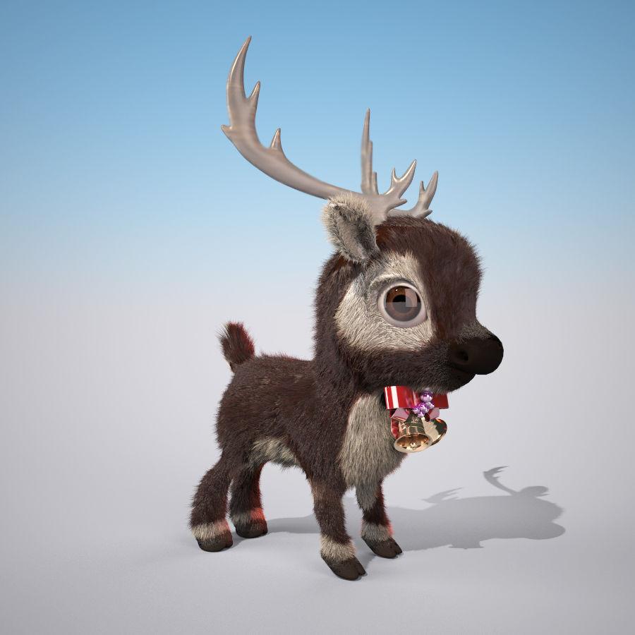 Christmas Deer (fur) royalty-free 3d model - Preview no. 1