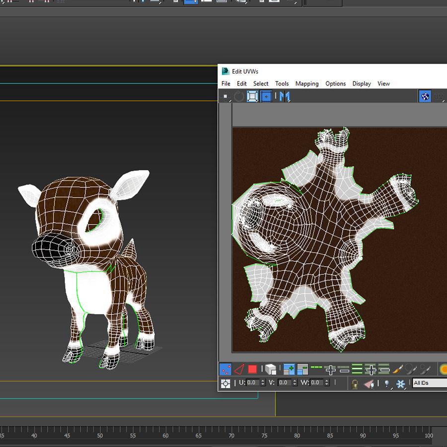 Christmas Deer (fur) royalty-free 3d model - Preview no. 5