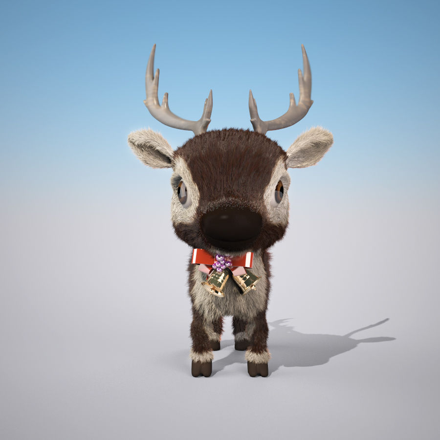 Christmas Deer (fur) royalty-free 3d model - Preview no. 2