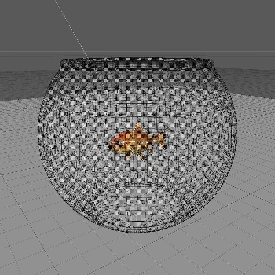 Peixe dourado animado em um aquário royalty-free 3d model - Preview no. 11