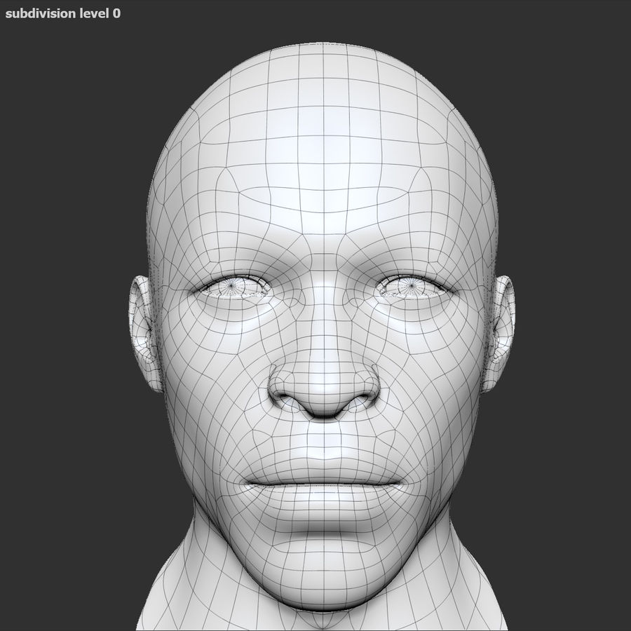 Human Head 4(Male) royalty-free 3d model - Preview no. 12