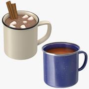 Горячий шоколад и чайные чашки 3d model