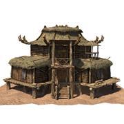 maison en bois 02 tex 3d model