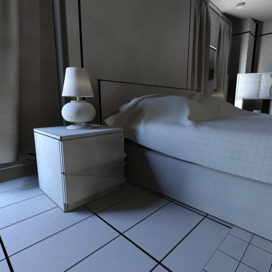 Modern Double Bedroom royalty-free 3d model - Preview no. 4