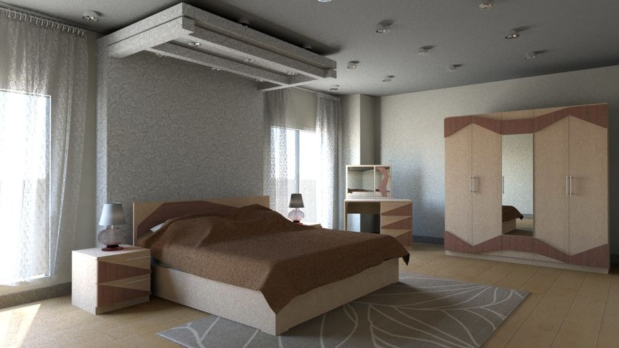 Modern Double Bedroom royalty-free 3d model - Preview no. 1