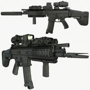Spelklart FN SCAR-L-CQC-anfallsgevär med LOD: er 3d model