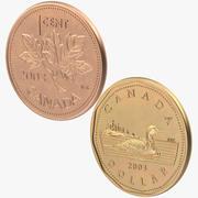 1 cent i 1 dolar monet Kanady 3d model
