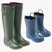 Adult and Kids Rain Boots 3d model