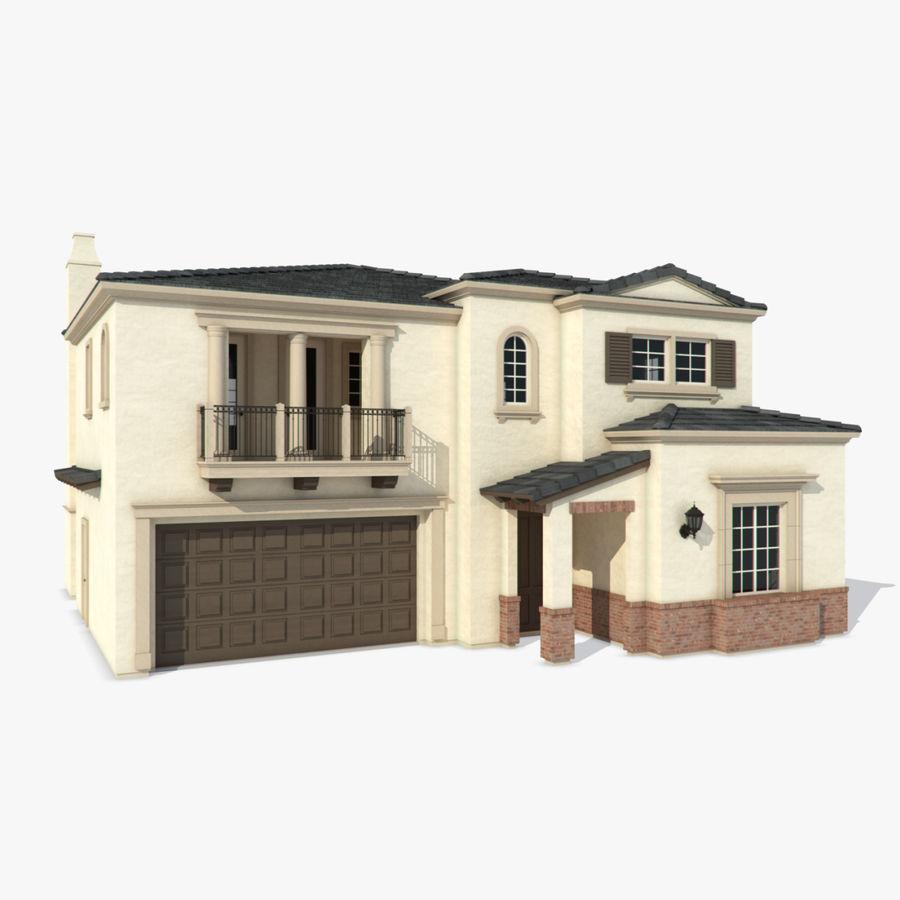 Dom na przedmieściach 01 royalty-free 3d model - Preview no. 1