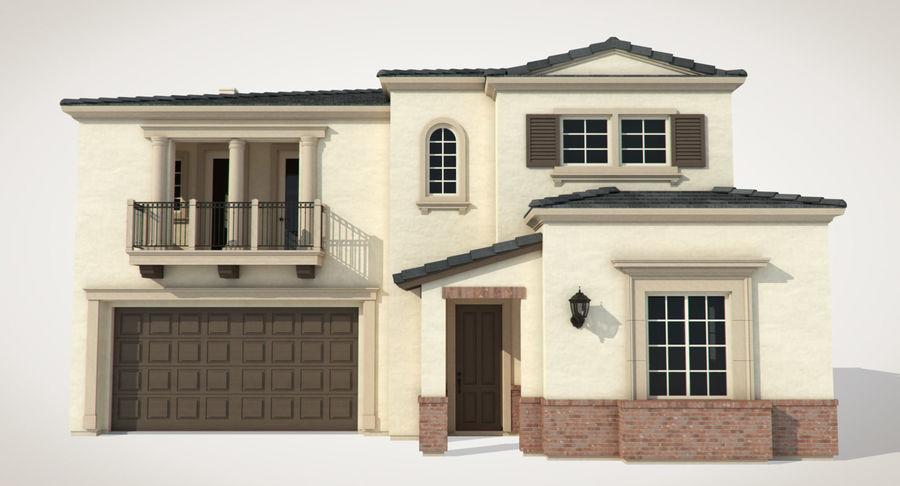 Dom na przedmieściach 01 royalty-free 3d model - Preview no. 4