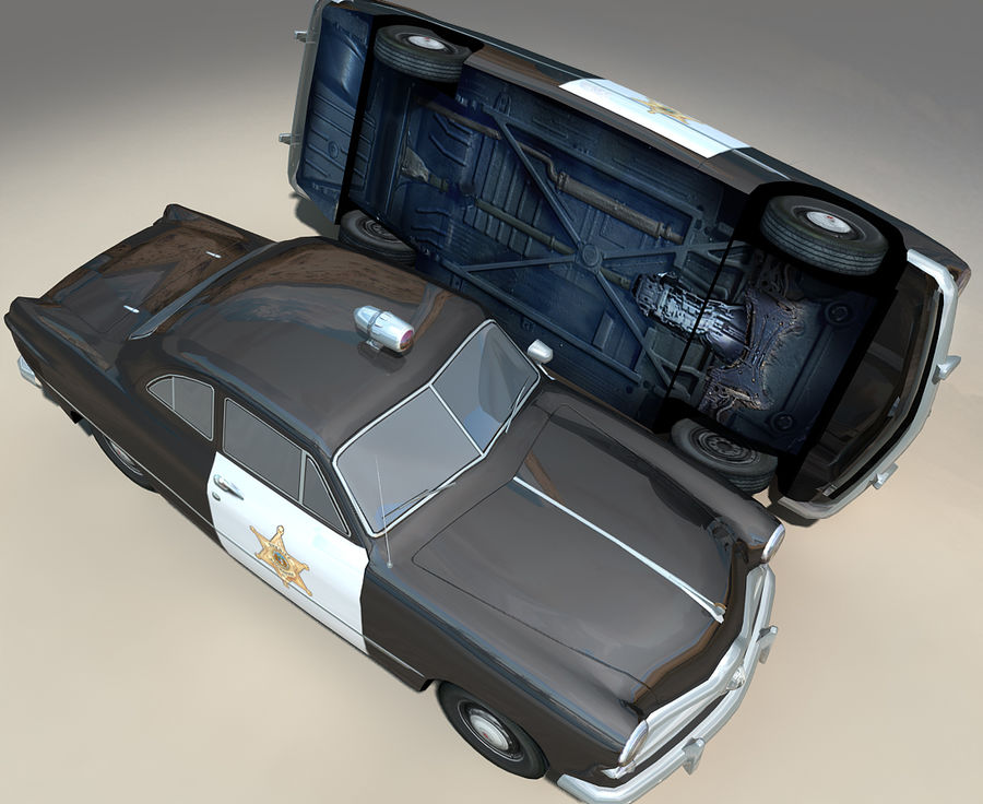 Låg Poly Retro polisbil royalty-free 3d model - Preview no. 16