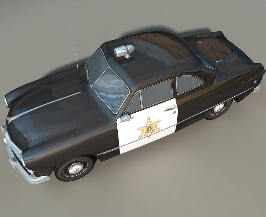 Låg Poly Retro polisbil royalty-free 3d model - Preview no. 6