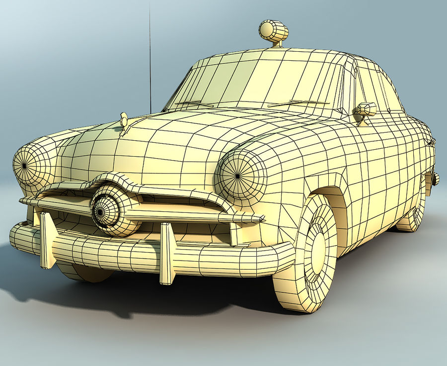 Låg Poly Retro polisbil royalty-free 3d model - Preview no. 2