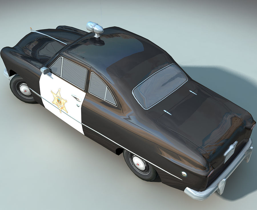 Låg Poly Retro polisbil royalty-free 3d model - Preview no. 12