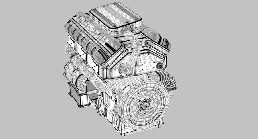 Car Engine royalty-free 3d model - Preview no. 24