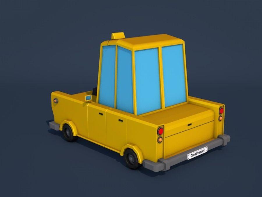 低ポリタクシー車 royalty-free 3d model - Preview no. 3