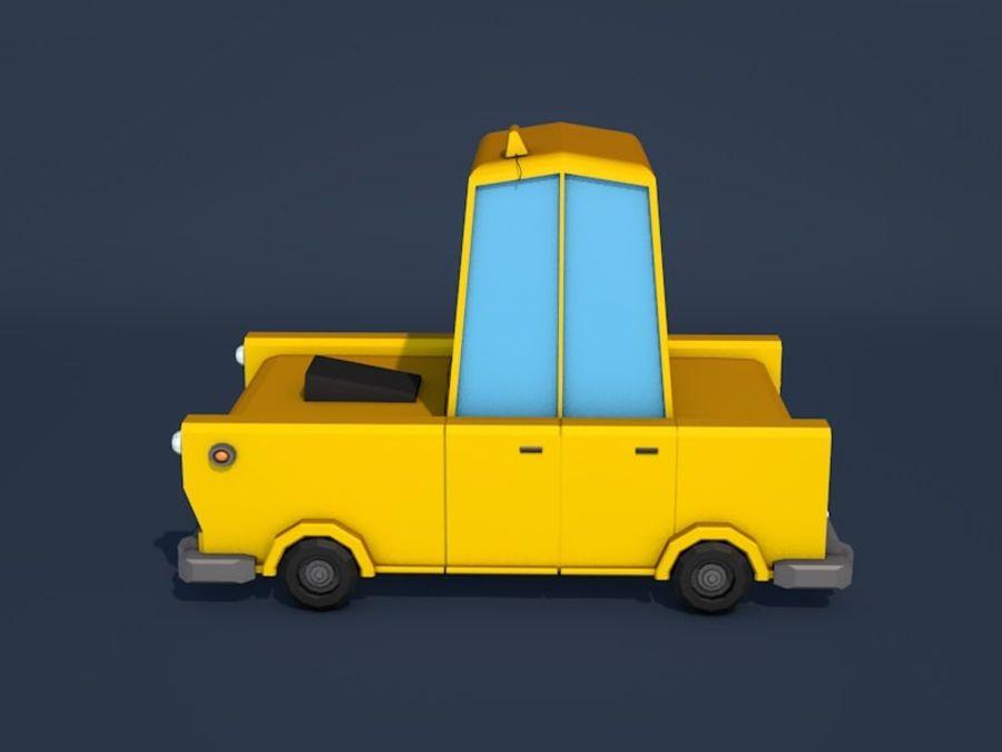 低ポリタクシー車 royalty-free 3d model - Preview no. 2