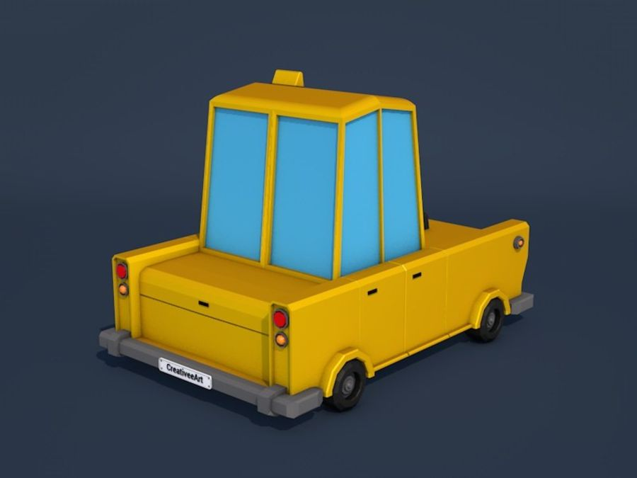 低ポリタクシー車 royalty-free 3d model - Preview no. 5