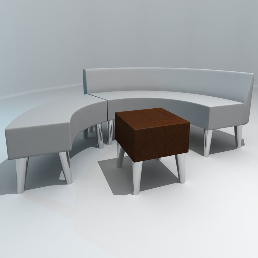 curved couch royalty-free 3d model - Preview no. 5