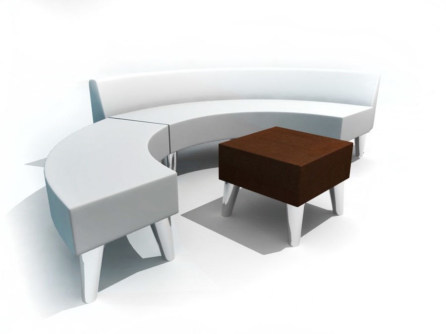 curved couch royalty-free 3d model - Preview no. 1