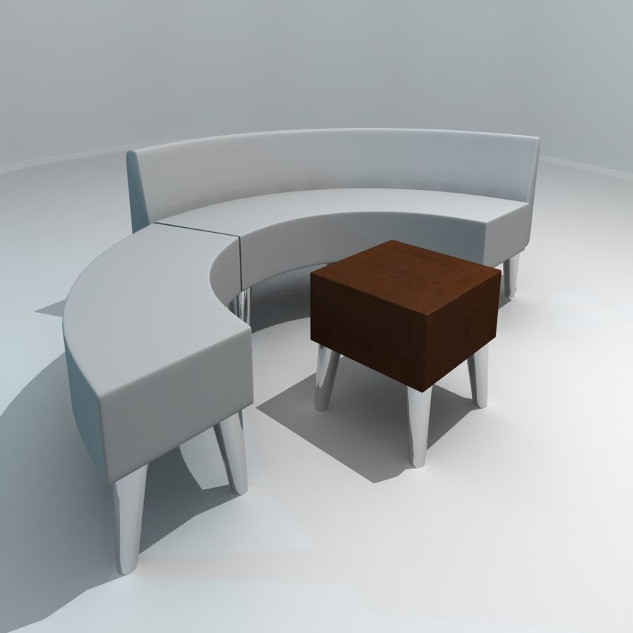 curved couch royalty-free 3d model - Preview no. 6