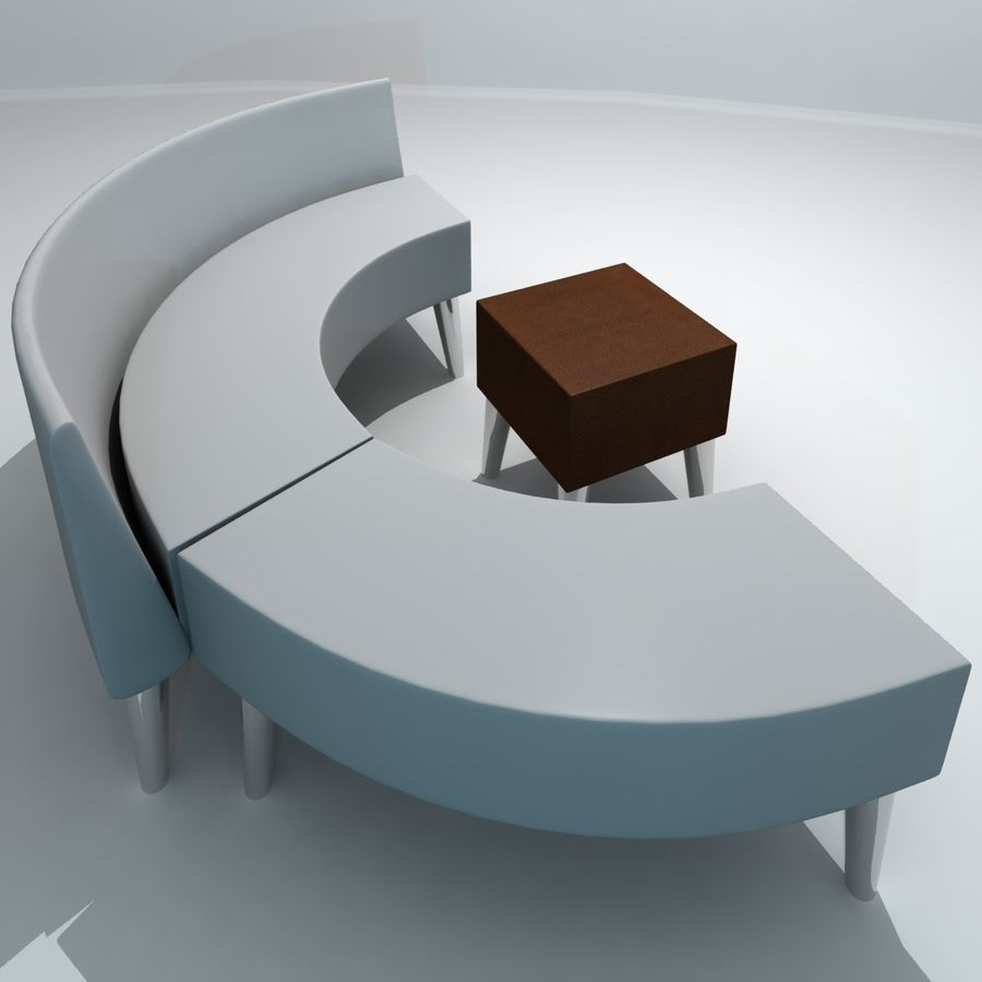 curved couch royalty-free 3d model - Preview no. 2