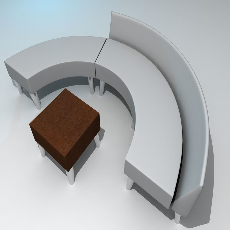 curved couch royalty-free 3d model - Preview no. 3