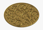 Oval floral swirl ornament 3d model