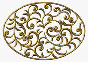 Oval floral swirl ornament (2) 3d model