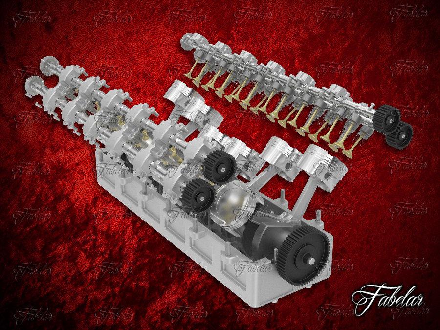 Silnik V12 otwarty royalty-free 3d model - Preview no. 1
