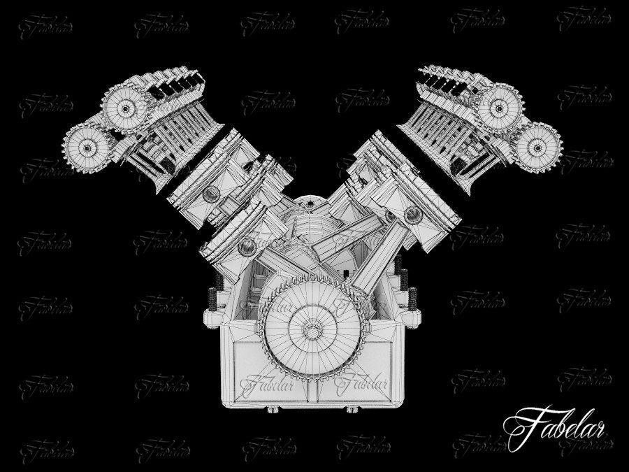 Silnik V12 otwarty royalty-free 3d model - Preview no. 5