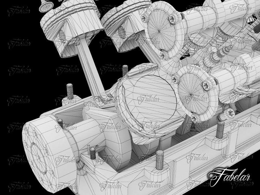 Silnik V12 otwarty royalty-free 3d model - Preview no. 7