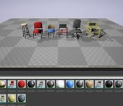 Chairs Set Low Poly 3d model