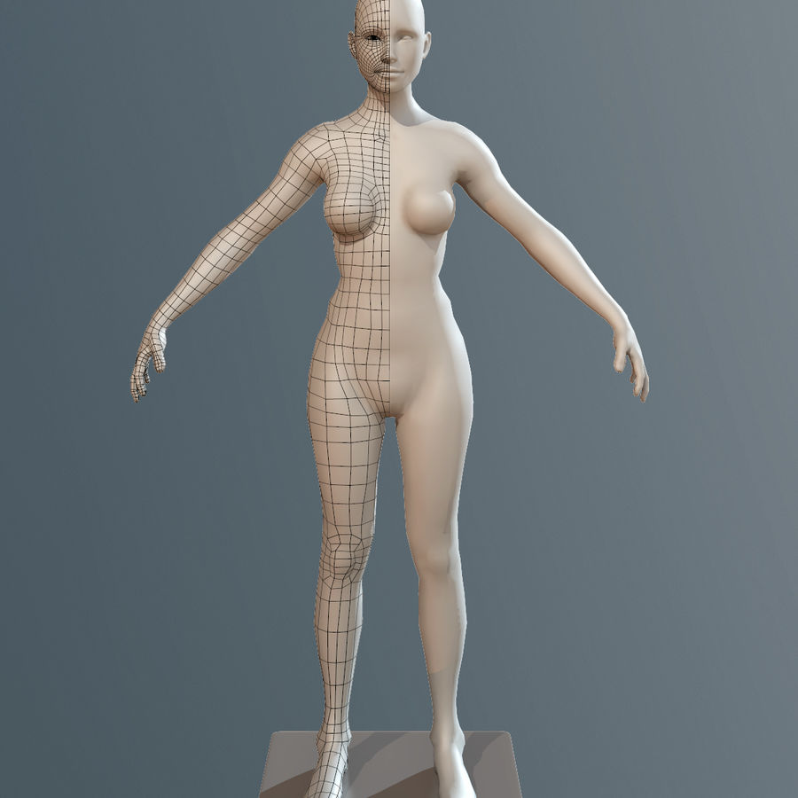 女Basemesh royalty-free 3d model - Preview no. 4