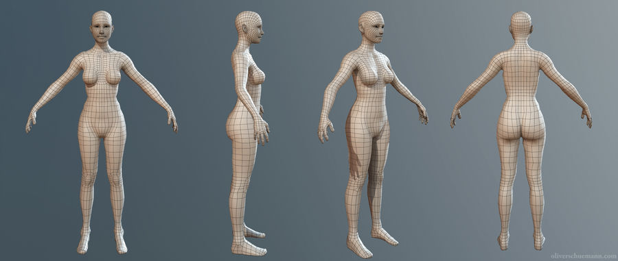 女Basemesh royalty-free 3d model - Preview no. 2