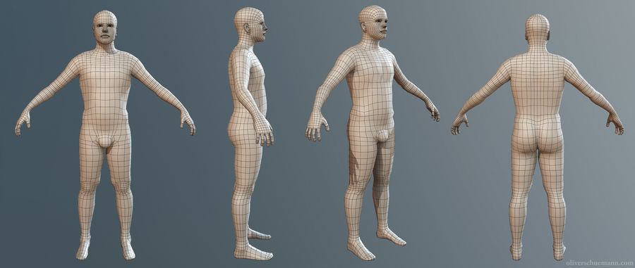 男性ベースメッシュ royalty-free 3d model - Preview no. 2